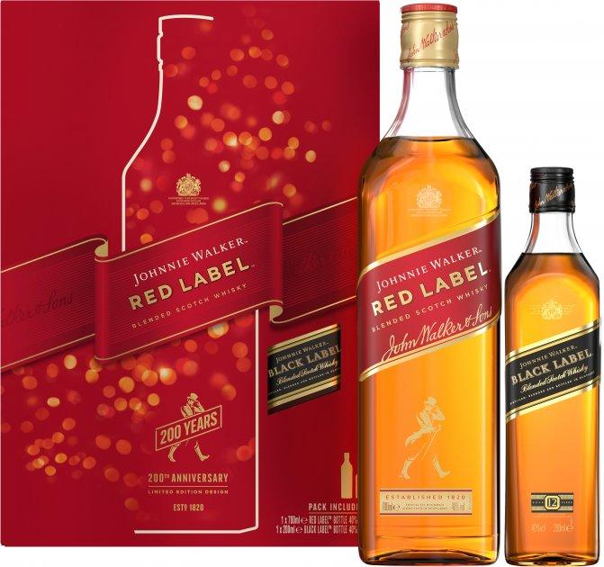 Виски Johnnie Walker Red label 0.7 л 40% в подарочной упаковке + Виски Johnnie Walker «Black Label» 0,2 л (5000267182636) - изображение 1