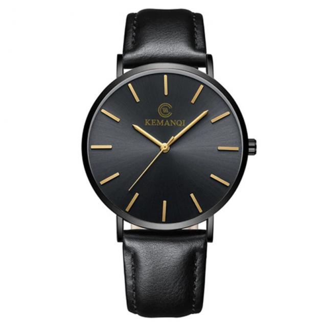 Часы мужские Kemanqi ультра тонкие с кожаным ремешком Черный - зображення 1