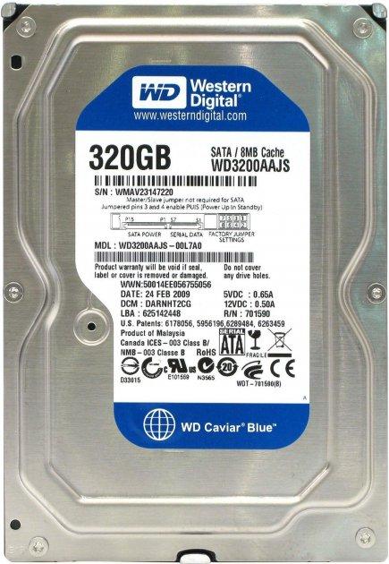 "Жорсткий диск Western Digital 320ГБ 7200об/м 8МБ 3.5"" SATA II (WD3200AAJS) - зображення 1"
