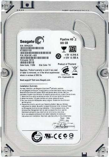 """Жесткий диск Seagate Pipeline HD 3.5"""" 320ГБ 5900об/м 8МБ SATA II (ST3320311CS) - изображение 1"""