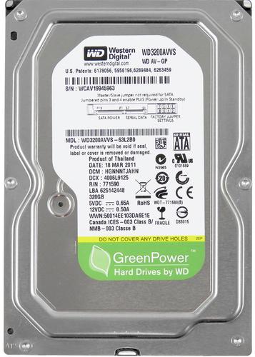 "Жорсткий диск Western Digital AV GreenPower 320ГБ 5400об/м 8МБ 3.5"" SATA II (WD3200AVVS) - зображення 1"