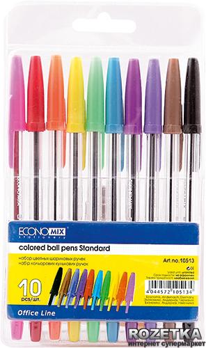 Набор шариковых ручек 10 шт Economix Standard Разноцветный 0.5 мм Прозрачный корпус 10 шт (10513) - изображение 1