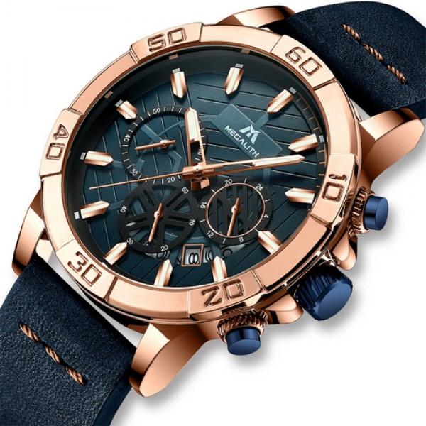 Наручний годинник Megalith 8086M Blue-Cuprum чоловічі кварцові + коробка брендована - зображення 1
