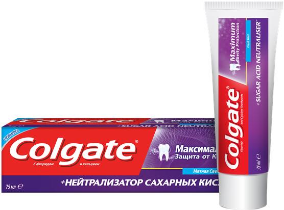 Зубная паста Colgate Максимальная защита от кариеса Нейтрализатор сахарных кислот 75 мл (8693495044554) - изображение 1