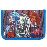 """Пенал Kite """"Monster High"""", 1 отделение, 2 отворота, серый с синим, без наполнения, МН15-622-1К - изображение 1"""