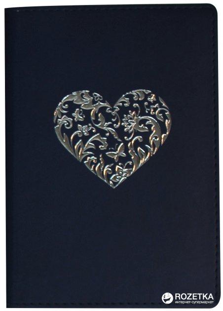 Деловая записная книга Optima Vivella Сердце A6 256 страниц линия Темно-синяя (20803-24)