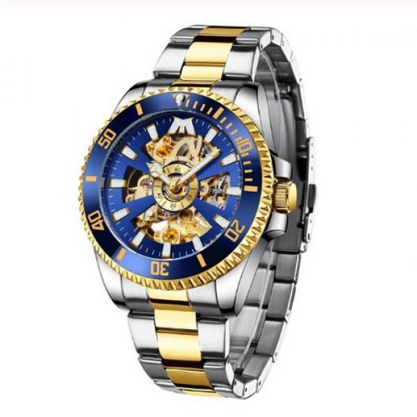 Наручные часы Chronte Robert Silver-Blue -Gold мужские механические + подарочная коробка - изображение 1