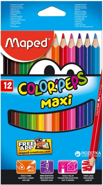 Карандаши цветные Maped Color Peps Maxi 12 цветов (MP.834010) - изображение 1