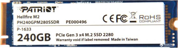 Patriot Hellfire 240GB M.2 2280 PCIe 3.0 x4 MLC (PH240GPM280SSDR) - зображення 1