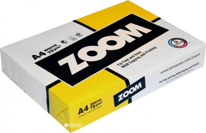 Бумага офисная Zoom А4 75 г/м2 класс С 500 листов Белая (6416764001247)