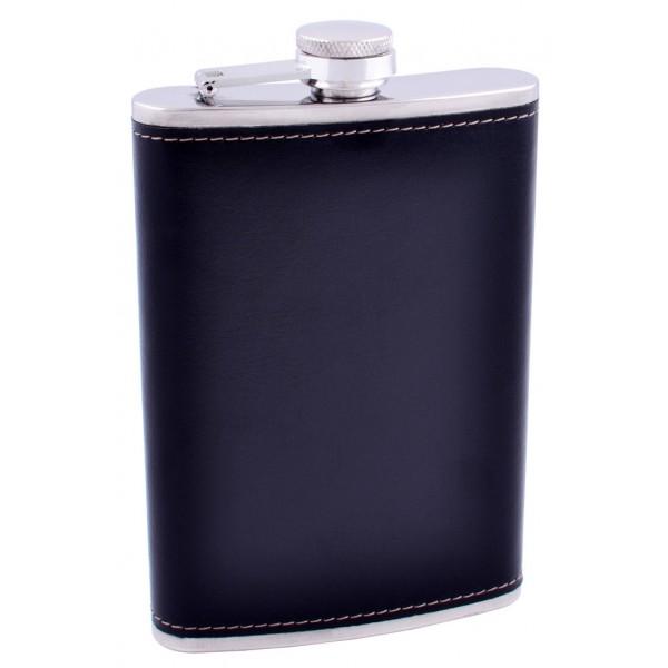Фляга из нержавеющей стали (Кожа) №FS-9 Black - изображение 1