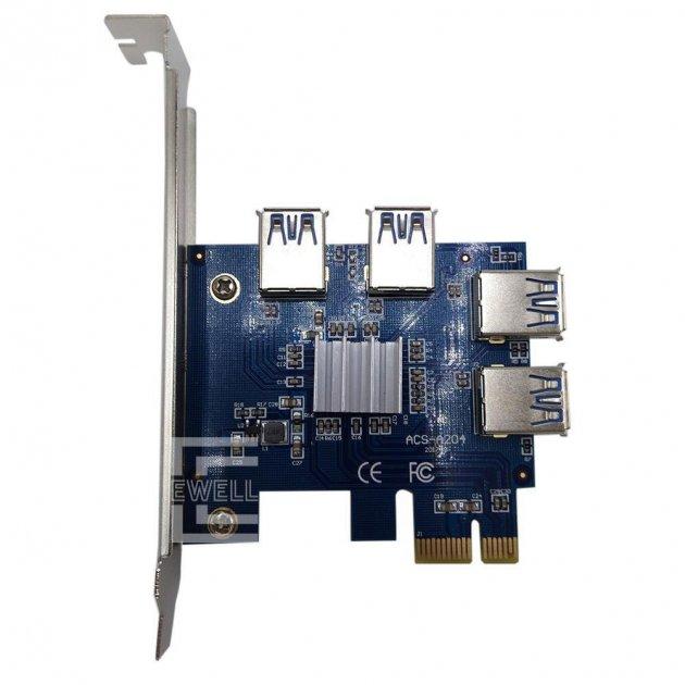 Хаб для райзерів Ewell PCI-E 1x to 4 Port Hub USB 3.0 Riser Card (EW075) - зображення 1