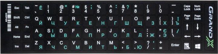 Наклейка на клавиатуру Grand-X 68 клавиш Украинский / Английский / Русский (GXDPGW) - изображение 1
