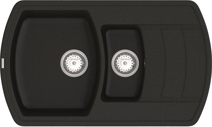 Кухонна мийка VANKOR Norton NMP 04.86 Black + сифон подвійний VANKOR Стандарт - зображення 1