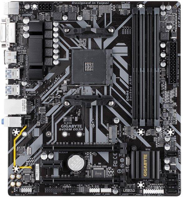 Материнская плата Gigabyte B450M DS3H (sAM4, AMD B450, PCI-Ex16) - изображение 1