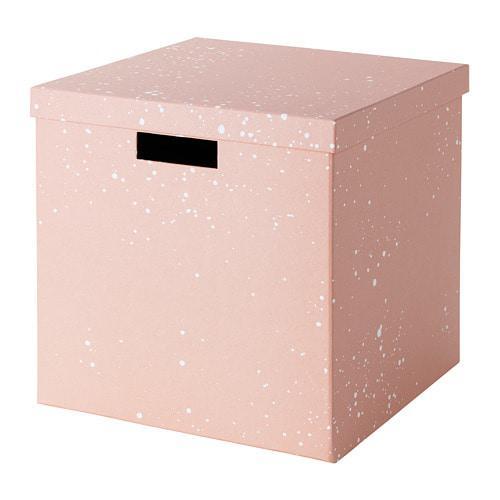 Коробка с крышкой IKEA TJENA 30x30x30 см розовая 704.038.09 - изображение 1