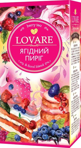 Смесь плодово-ягодного и цветочного чая с ароматом малины и карамели Lovare Ягодный пирог пакетированный 24 х 1.5 г (4820198872748) - изображение 1