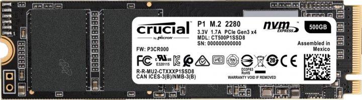 Crucial P1 NVMe 500GB M.2 PCIe 3.0 x4 (CT500P1SSD8) - зображення 1