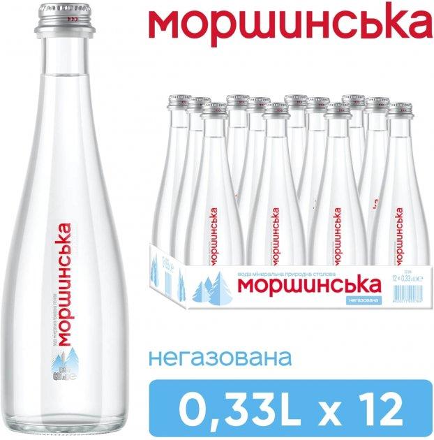 Упаковка минеральной природной столовой негазированной воды Моршинська Premium 0.33 л х 12 бутылок (4820017000581_234929) - изображение 1