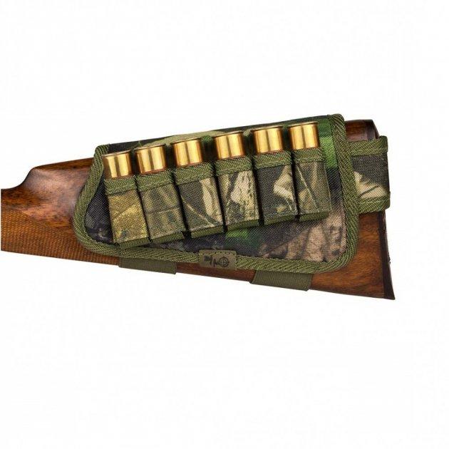 Патронташ на Приклад з Поліестеру Bronzedog Лівша 6 патронів калібр Зелений 12/16 (8106) - зображення 1