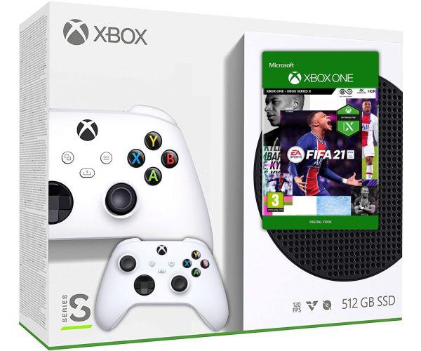 Microsoft Xbox Series S 512Gb + FIFA 21 (русская версия) + доп. Wireless Controller with Bluetooth (Robot White) - изображение 1