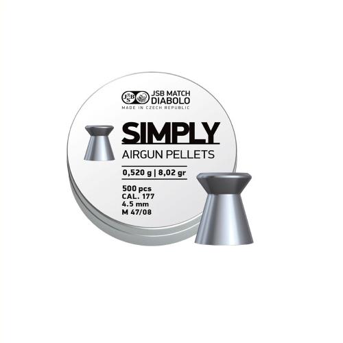 Пули пневм JSB Diabolo Simply, 4,5 мм ,0.52 гр, 500 шт/уп - изображение 1