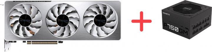 Gigabyte PCI-Ex GeForce RTX 3070 Vision OC 8 GB GDDR6 (256 bit) (1725/14000) (2 х HDMI, 2 x DisplayPort) (GV-N3070VISION OC-8GD) + Блок питания Gigabyte P750GM 80+ Gold Modular (P750GM) в подарок! - зображення 1
