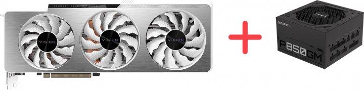 Gigabyte PCI-Ex GeForce RTX 3090 Vision OC 24 GB GDDR6X (384 bit) (1695/19500) (2 х HDMI, 3 x DisplayPort) (GV-N3090VISION OC-24GD) + Блок питания Gigabyte P850GM 80+ Gold Modular (P850GM) в подарок! - зображення 1