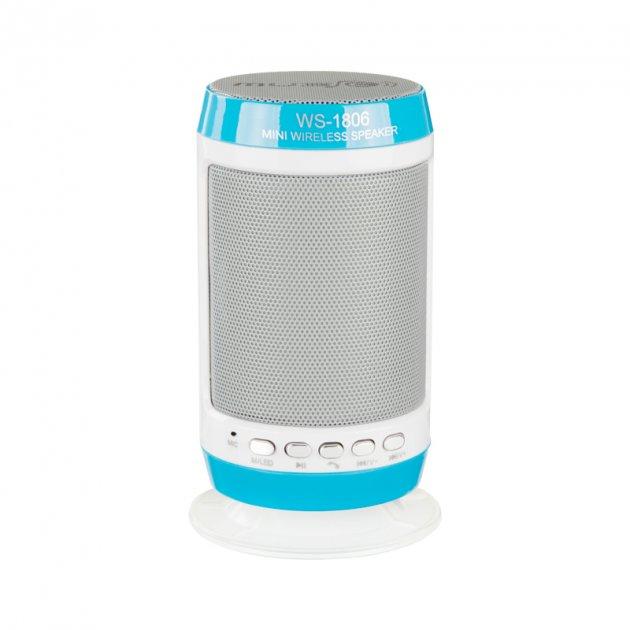 Портативная колонка Bluetooth WS-1806+ со светомузыкой Blue - изображение 1