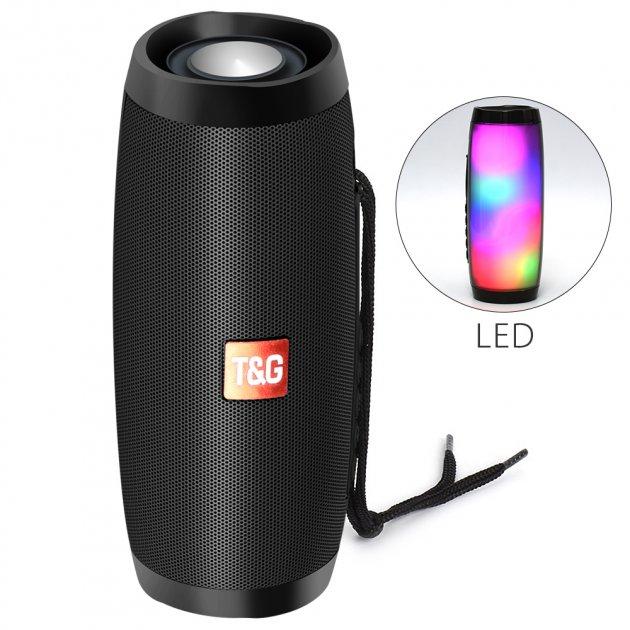 Портативна акустична колонка T&G з LED-підсвічуванням і ремінцем для перенесення Bluetooth 10Вт Чорна (TG157stereo-01) - зображення 1