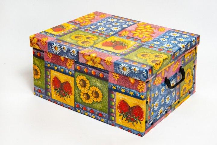 Коробка картонная с пластиковыми ручками Evoluzione 30 х 39 х 15 см Цветы и фрукты (28) - зображення 1