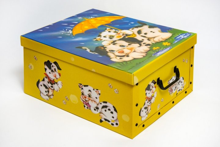 Коробка картонная с пластиковыми ручками Evoluzione 40 х 50 х 25 см Собачка и Котенок под зонтиком (14) - зображення 1