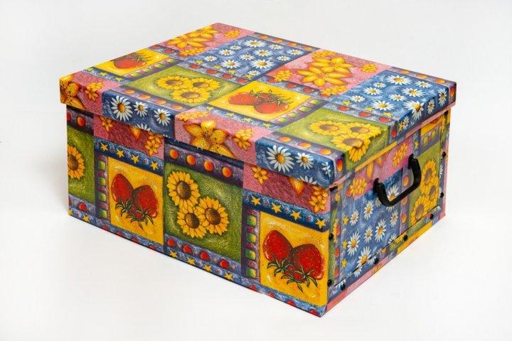 Коробка картонная с пластиковыми ручками Evoluzione 40 х 50 х 25 см Цветы и фрукты (21) - зображення 1