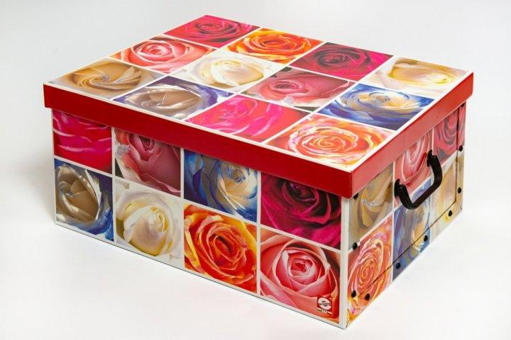 Коробка картонная с пластиковыми ручками Evoluzione 40 х 50 х 25 см Розы (17) - зображення 1