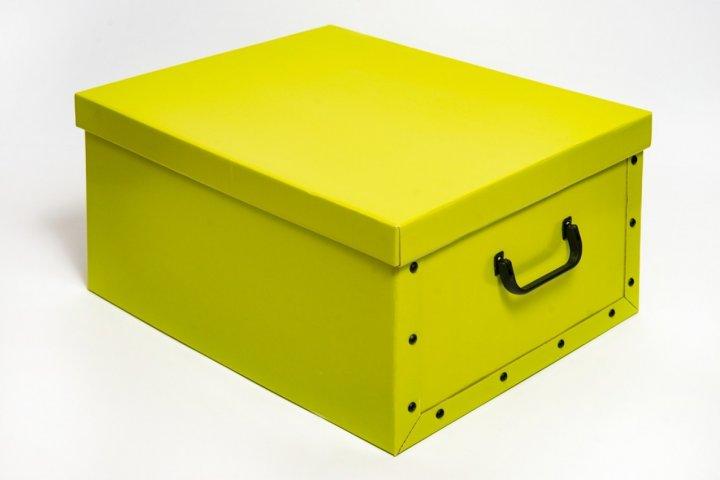Коробка картонная с пластиковыми ручками Evoluzione 40 х 50 х 25 см Желтая (15) - зображення 1