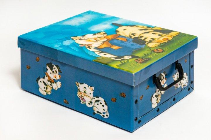 Коробка картонная с пластиковыми ручками Evoluzione 30 х 39 х 15 см Котенок и Собачка (32) - изображение 1
