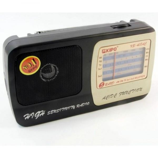 Акустическая система Kipo аккумуляторный радиоприемник FM приемник 19.8 см Чёрный (KB-408AC) - изображение 1