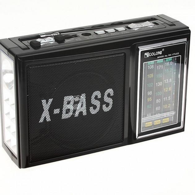 Радиоприёмник портативный со встроенным LED фонариком 18,5см Golon RX-177 Black - изображение 1