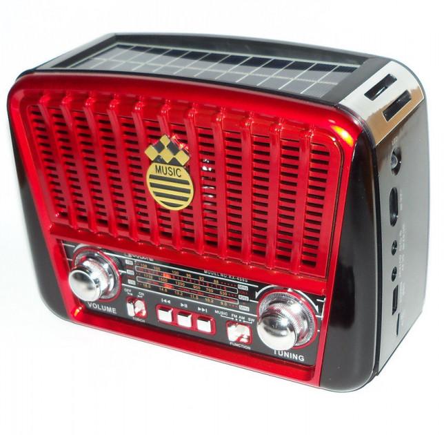 Акустическая система Golon радиоприемник колонка радио на аккумуляторе в ретро стиле с солнечной панелью и фонариком с подсветкой Красный (RX-455) - изображение 1
