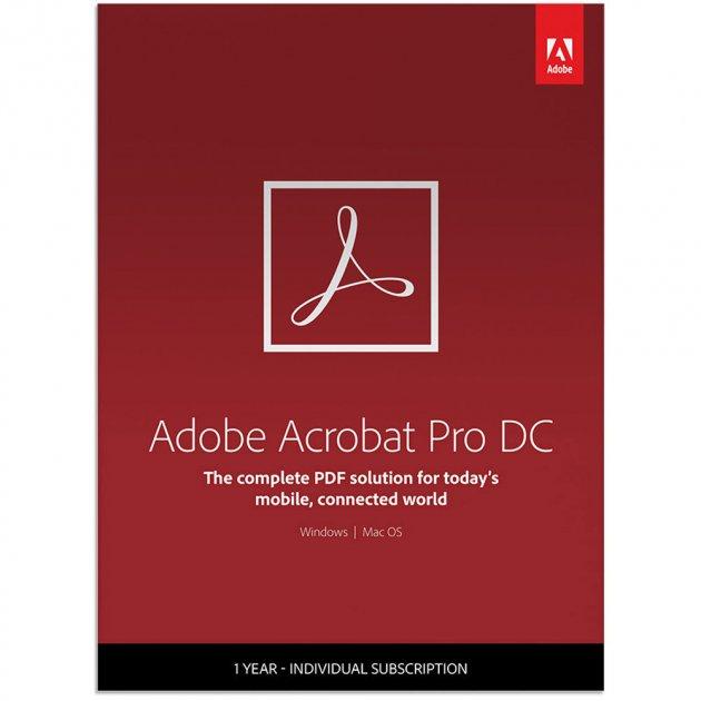 Adobe Acrobat Pro DC for teams. Ліцензія для комерційних організацій і приватних користувачів, річна передплата на одного користувача в межах замовлення від 50 до 99 (65297934BA03A12) - зображення 1