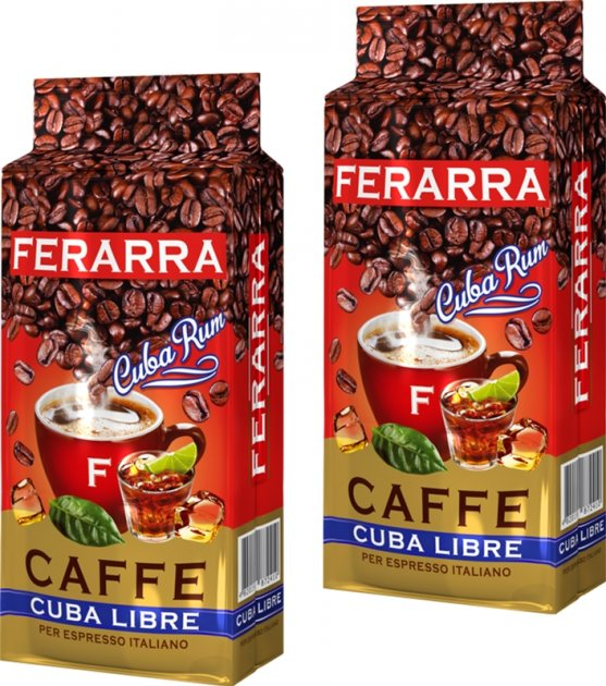 Упаковка меленої кави Ferarra Cuba Libre з ароматом кубинського рому 250 г х 2 шт. (2000006782236) - зображення 1