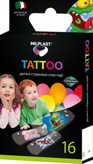 Пластырь Milplast Tattoo детский стерильный с имитацией тату набор 16 шт (8017990118952) - изображение 1