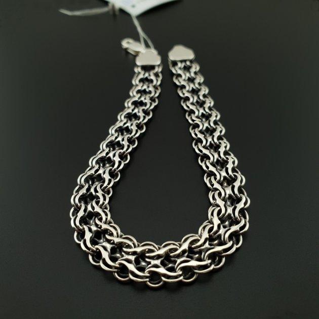 Подвійний чоловічий срібний браслет Харків Ланцюг чорніння подвійний струмочок 21.5 см 2143-21.5 - зображення 1