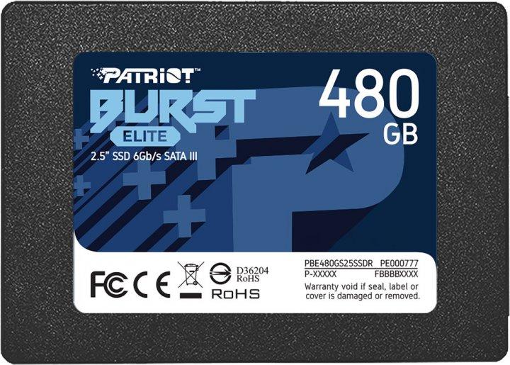 "Patriot Burst Elite 480GB 2.5"" SATAIII TLC (PBE480GS25SSDR) - зображення 1"