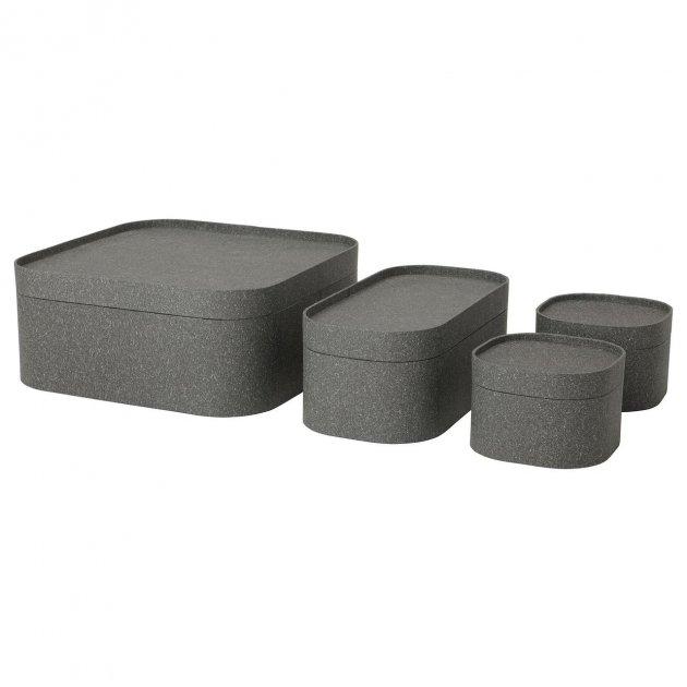 Набір коробок з кришкою IKEA (ІКЕА) SAMMANHANG 4 шт темно-сірі (004.123.55) - зображення 1