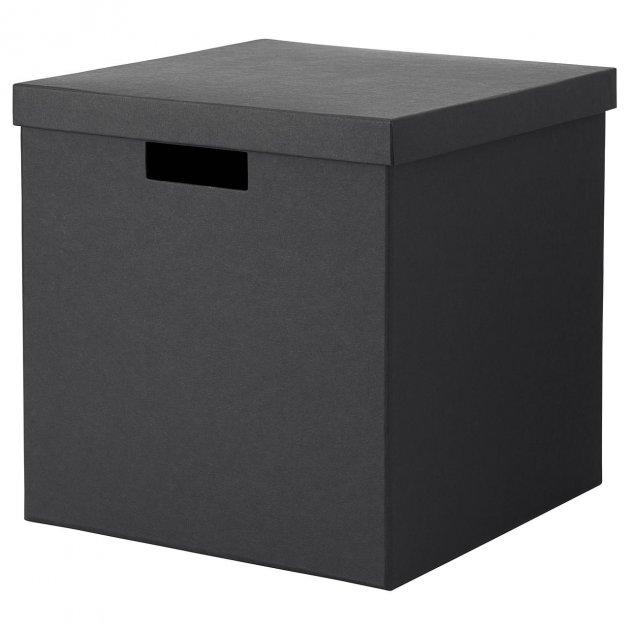 Коробка с крышкой IKEA (ИКЕА) TJENA 30x30x30см черная (503.954.76) - изображение 1
