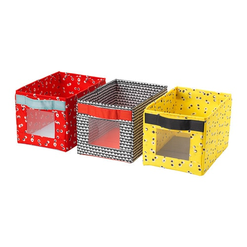Набір різнокольорових ящиків для зберігання IKEA ANGELÄGEN 18x27x17 см 3 шт різнокольорові 504.179.49 - зображення 1