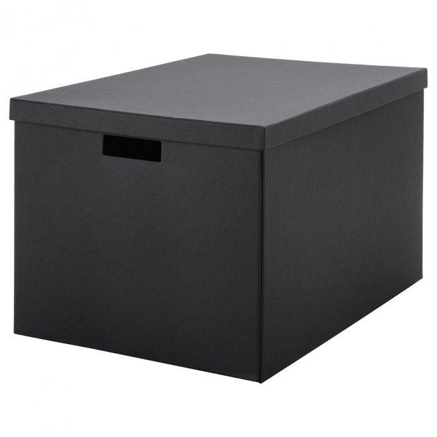 Коробка с крышкой IKEA TJENA 35x50x30 см черная 103.743.48 - зображення 1