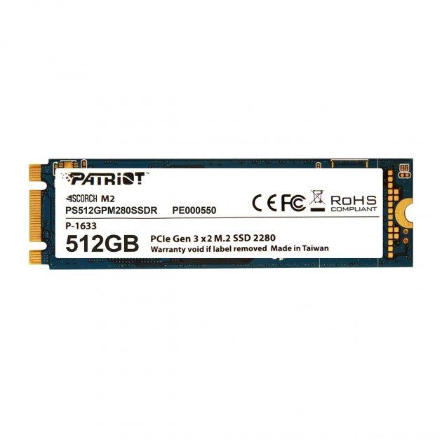 Накопитель SSD 512GB Patriot Scorch M.2 2280 PCIe 3.0 x2 3D TLC (PS512GPM280SSDR) - изображение 1