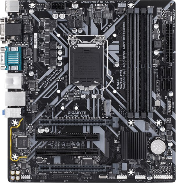Материнская плата Gigabyte H310M D3H (s1151, Intel H310, PCI-Ex16) - изображение 1